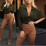Blusas Womens Turn Down Collar Chiffon Shirt Deep V Front Lace Up Long-iuly.com
