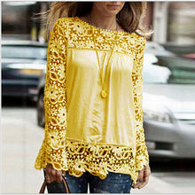 Load image into Gallery viewer, 5Xl Large Size Women Lace Long Sleeve Chiffon Blouses Shirt Crochet Bl-iuly.com