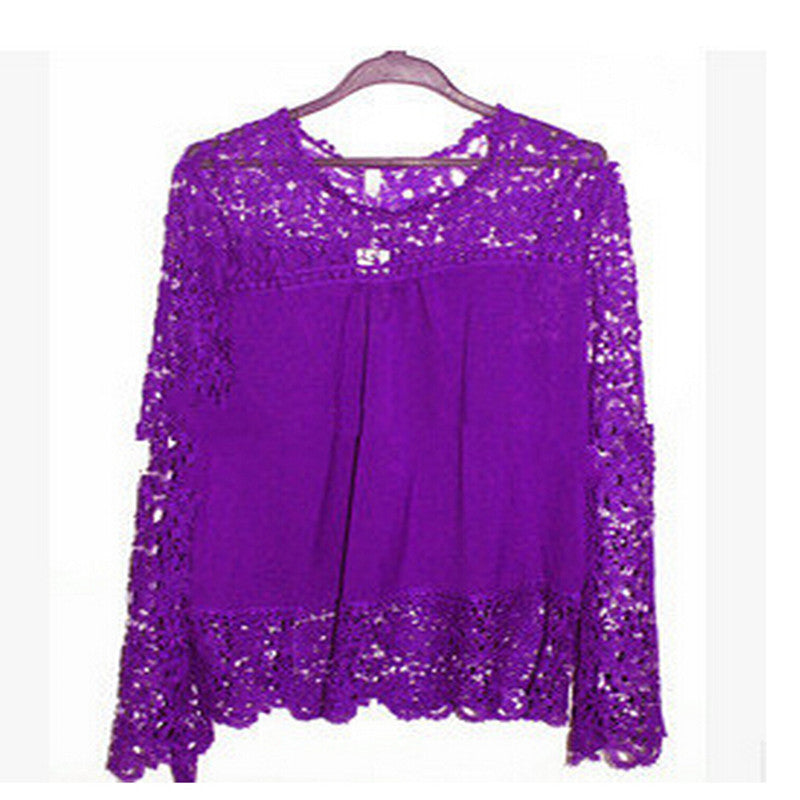 5Xl Large Size Women Lace Long Sleeve Chiffon Blouses Shirt Crochet Bl-iuly.com