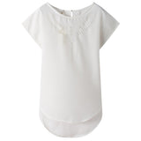 Design Vintage Hollow Chiffon Blouse Women Tops Summer Sweet Cute Plus-iuly.com