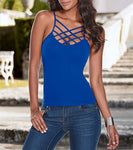 Awaytr Woman Spaghetti Strap Tank Top Summer Sleeveless Criss Cross To-iuly.com