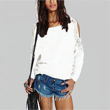 Load image into Gallery viewer, Blusas Autumn Women Casual Lace Crochet Splice Off Shoulder Lon-iuly.com