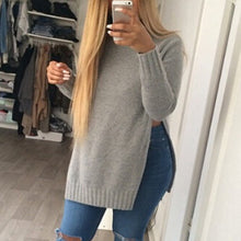 Load image into Gallery viewer, Blusas Autumn Women Long Sleeve O-Neck Side Slit Knitted Pullover-iuly.com