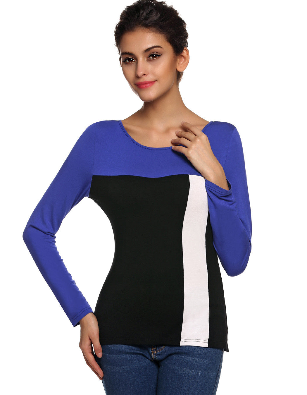 Finejo Stylish Ladies Casual Splicing Contrast Color O-Neck Long Sleev-iuly.com