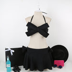 Women Black Swim Wear Solid Swimwear Brazilian Bikini Big Bow Bandeau-iuly.com