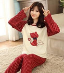 Autumn Winter Women Men Pajama Sets Long Sleeve O-Neck Sleepwear Pajam-iuly.com