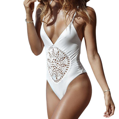 White Crochet Thong One Piece Swimsuit Strappy Waist Swimwear Women Bo-iuly.com