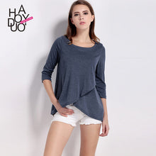 Load image into Gallery viewer, Haoduoyi Womens Brief Solid Loose Three Quarter Irregular T-Shirt Stre-iuly.com