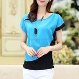 Blue Orange Red Summer Style Chiffon Blouses Women Casual Patchwork Sh-iuly.com