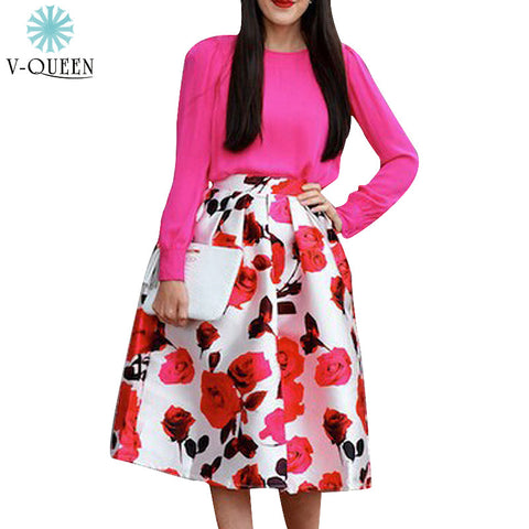 V-Queen Spring Summer Women Rose Floral Print Waist Pleated Knee-Lengt-iuly.com