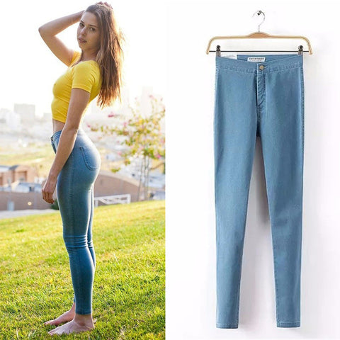 Pencil Jeans Woman Casual Denim Stretch Skinny Jeans Vintage Waist Jea-iuly.com