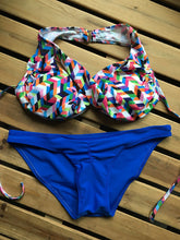 Load image into Gallery viewer, Neck Low Waist Print Color Women Bikini Set Padded Design Sports Bathi-iuly.com
