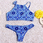 9 Styles! Print Color Neck Halter Low Waist Banded Women Bikini Bathin-iuly.com