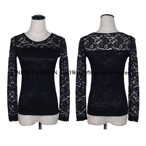 Female Lace Blouse Crochet Lace Tops Long Sleeve Shirts Women Blouses-iuly.com