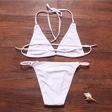 Load image into Gallery viewer, Summer Women Vintage Swimwear Bandage Bikini Hollow Out Mesh Bikinis S-iuly.com