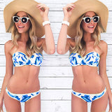 Bandeau Bikini Push Up Swimsuit Women Swimwear Strapless Bikini Print-iuly.com