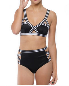 Women Bandage Bikini Set Neoprene Swimsuit Bandeau Cut Out Swimwear Sp-iuly.com