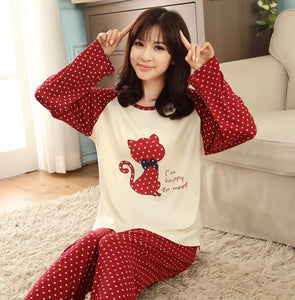 Autumn Winter Chinese Style Women Sleep Loose Size Pajama Sets Women L-iuly.com