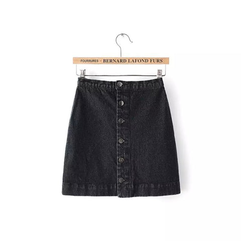 Button Denim Short Skirt Mini Waist Short Falda Skirt-iuly.com