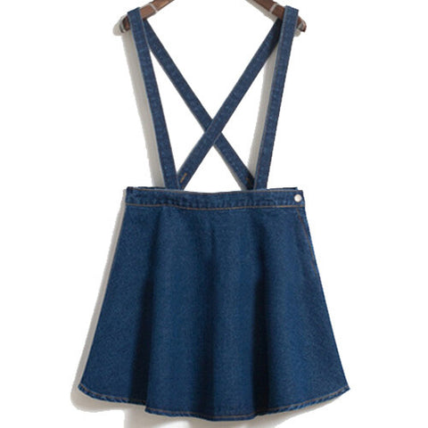 Jean Denim Skirt Thin Umbrella Big Swing Denim Strap Waist Sing-iuly.com