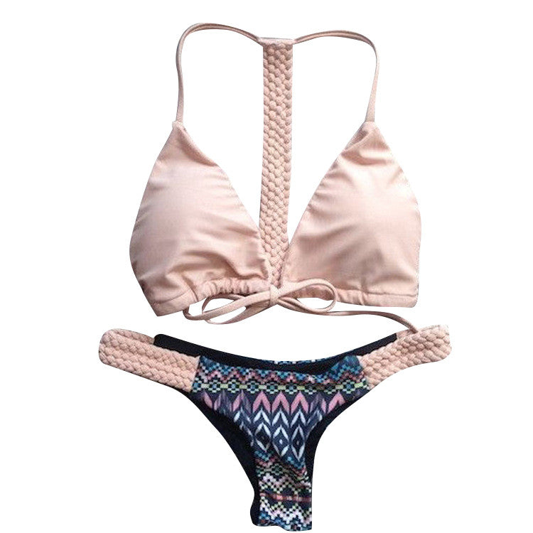 Lovely Swimsuit Bathing Suit Low Waist Pink Solid Color Side Tie Bikin-iuly.com