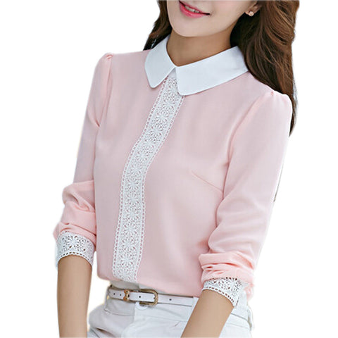 Autumn Peter Pan Collar Chiffon Blouse Women'S Long Sleeve Lace Croche-iuly.com