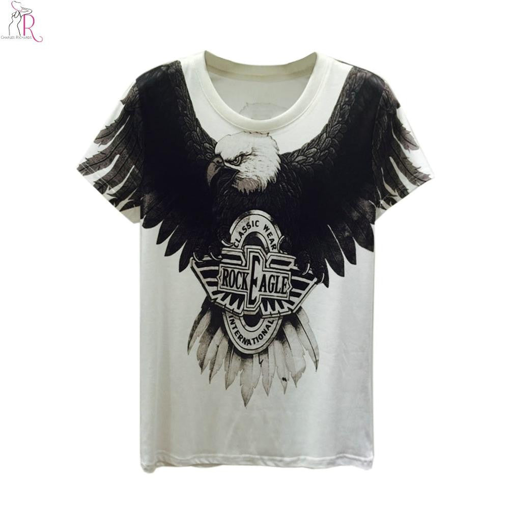 Black White Tee Tops 3D Eagle Letter Print Short Sleeve Round Neck Loo-iuly.com