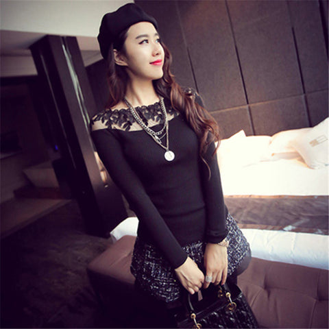 Elegant Lace Women Pullover Sweater Autumn Long Sleeve Pull Femme-iuly.com