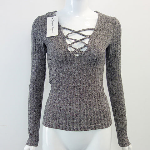 Beavant Charcoal V Neck Autumn Knitted Tops Women Pullover Lace Up Ela-iuly.com