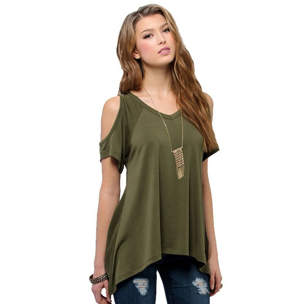 Shein Ladder-Cutout Shoulder Tee Shirt Women Tops Summer Woman T Shirt-iuly.com