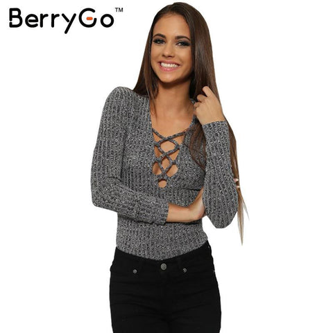 Berrygo Charcoal Lace Up Autumn Warm Knitted Tops V Neck Women Sweater-iuly.com