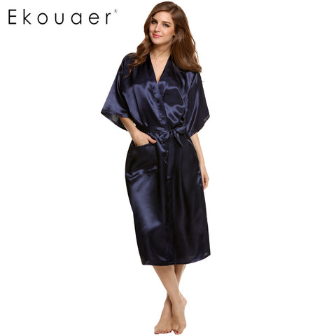 Stylish Women Nightwear Robes Sleepwear Long Night Dress Gown Robe Wit-iuly.com