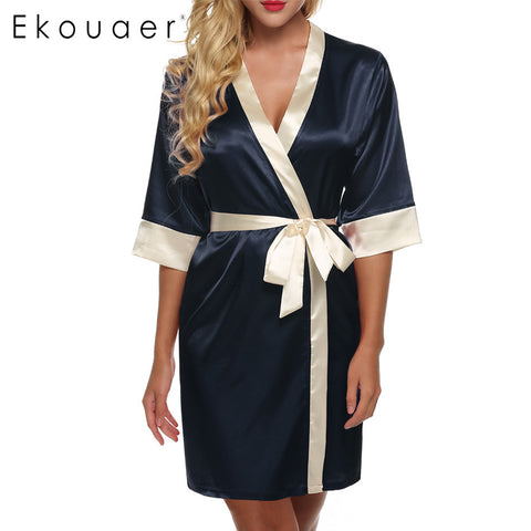 Ekouaer Women'S Kimono Robe Knee Length Bathrobe Lingerie Sleepwear Sh-iuly.com