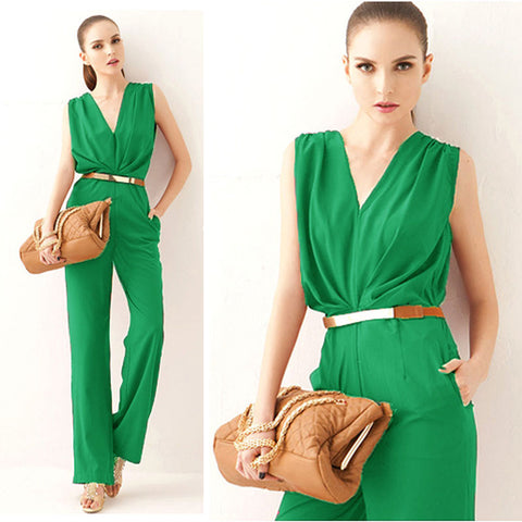 Feitong Women Sleeveless Maxi Overalls Belted Wide Leg Jumpsuit Plus S-iuly.com