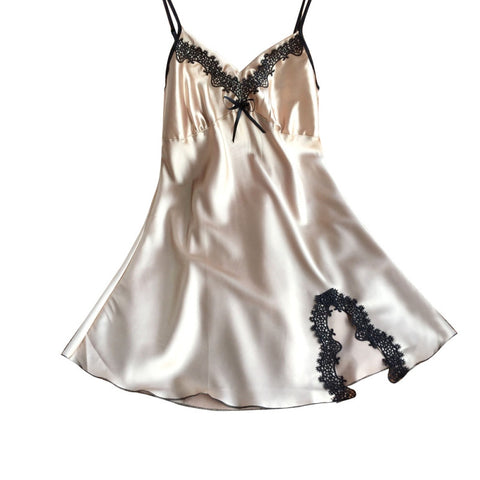 Ladies Silk Satin Night Dress Sleeveless Nighties V-Neck Nightgown Plu-iuly.com