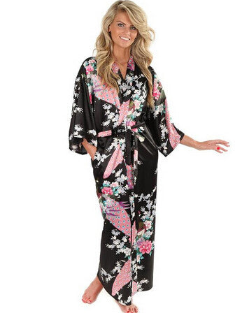 Black Women Silk Kimono Robes Long Nightgown Vintage Printed Night Gow-iuly.com
