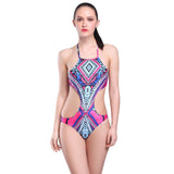 Patterns Neck Beachwear Cut Out Halter Bikini Monokini Swimsuit Bathin-iuly.com