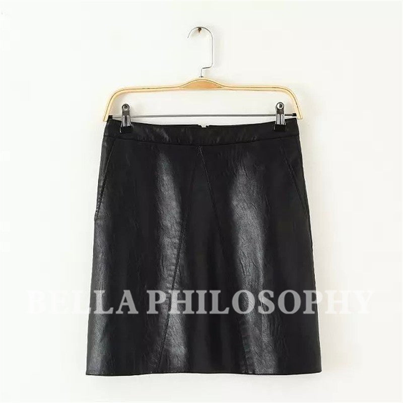 Autumn Winter Waist Pu Faux Leather Women Skirt Pink Yellow Black Back-iuly.com
