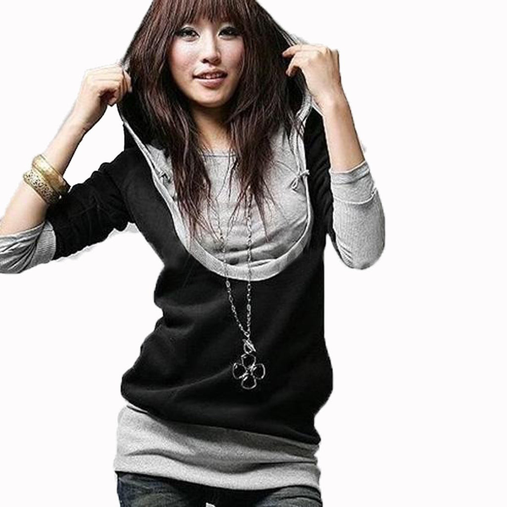 Autumn Womem Fake 2 Pieces Sweatshirts Pullover Loose Hooded Top Long-iuly.com