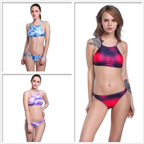 3 Colors Women Print Bikini Set Tie Dye Swimwear Crop Top Neck Bikini-iuly.com