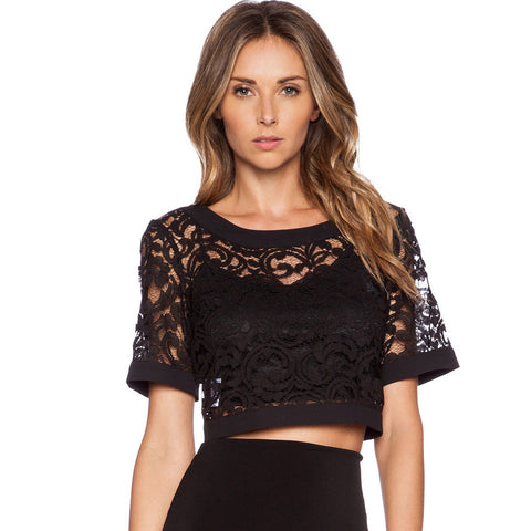 Lace Crop Top Tshirt Women Tops And Tees Shirts Short Sleeve Crochet V-iuly.com