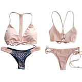 Polovi Lovely Swimsuit Bathing Suit Low Waist Pink Solid Color Side Ti-iuly.com