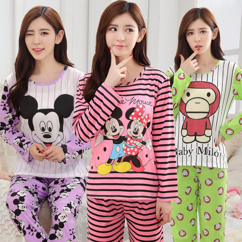 Spring Autumn Long Sleeved Pajamas Set For Women Modal Thin Silk Pajam-iuly.com