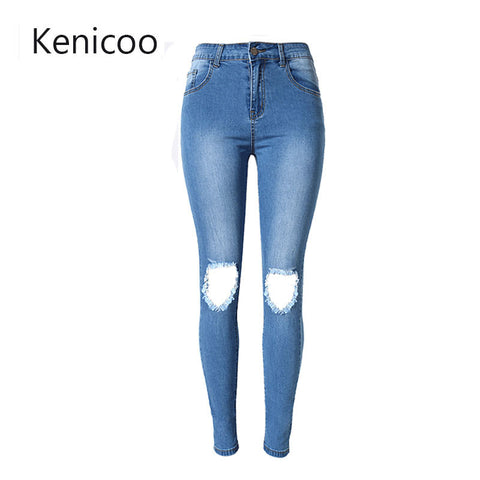 Jeans For Women Waist Ripped Jeans Skinny Hole Denim Pencil Pants Stre-iuly.com