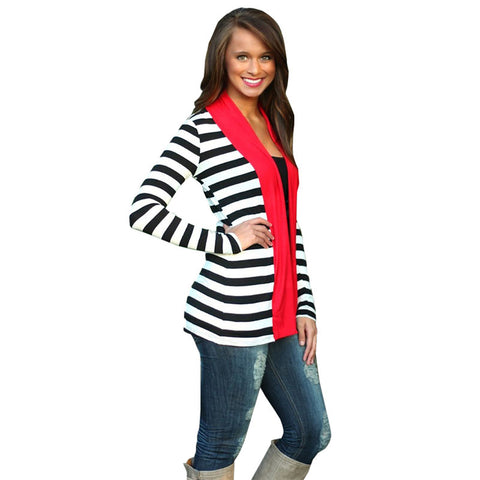 Women Long Sleeve Striped Cardigans Cotton Autumn Casual Outwear Patch-iuly.com