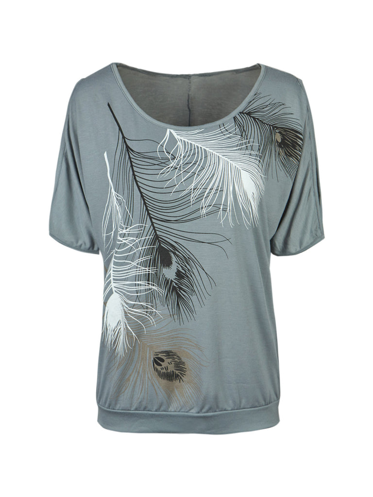 Slit Sleeve Cold Shoulder Feather Print Women Casual Summer T Shirt Gi-iuly.com