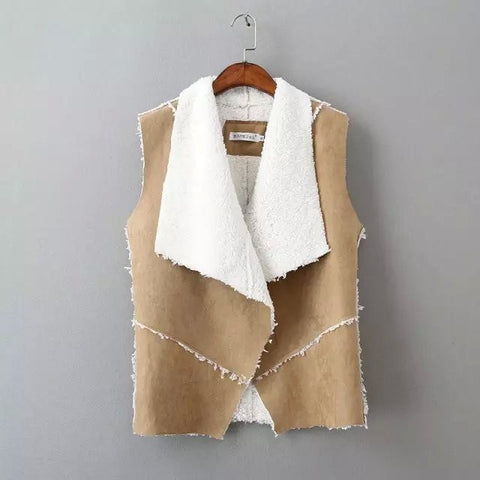 Autumn Winter Women Suede Leather Faux Fur Vest Jacket Lady Fall Sleev-iuly.com