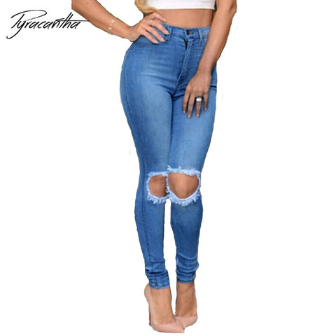 Waist Skinny Tight Long Jeans Pencil Stretch Ripped Calca Knee Women J-iuly.com