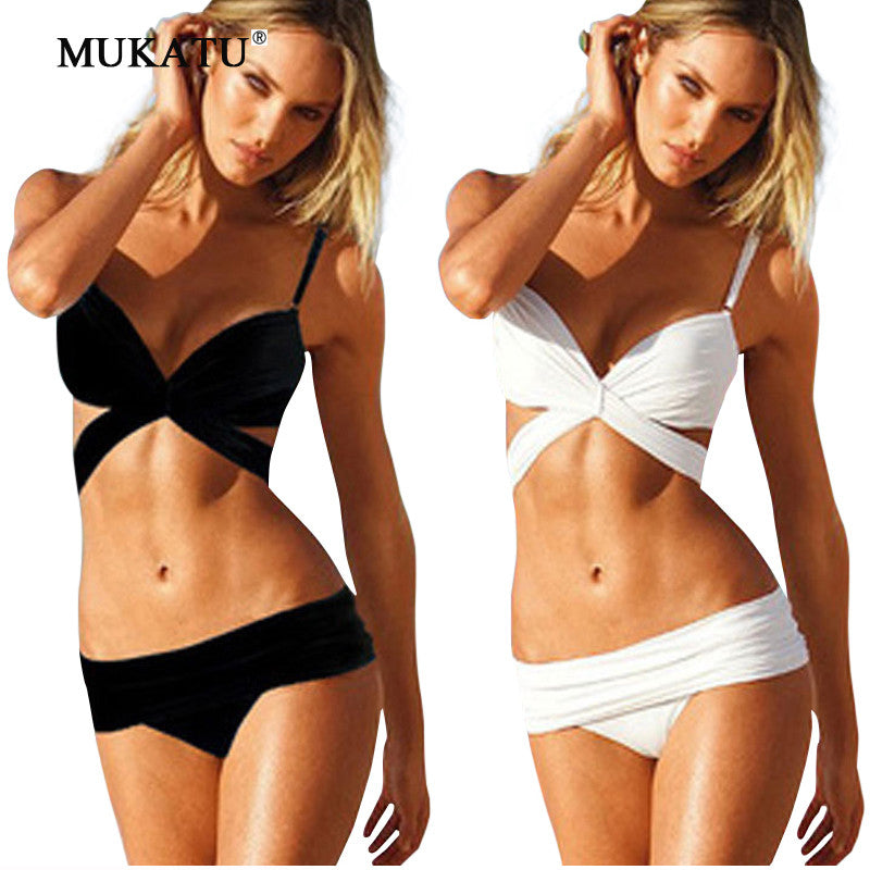 Bandage Swimwear Women Black Bikini Sets White Bikini Swim Suit Women-iuly.com