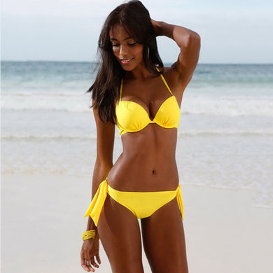 Summer Bikinis Solid Yellow Women Push Up Bra Bandage Bikini Swimsuit-iuly.com